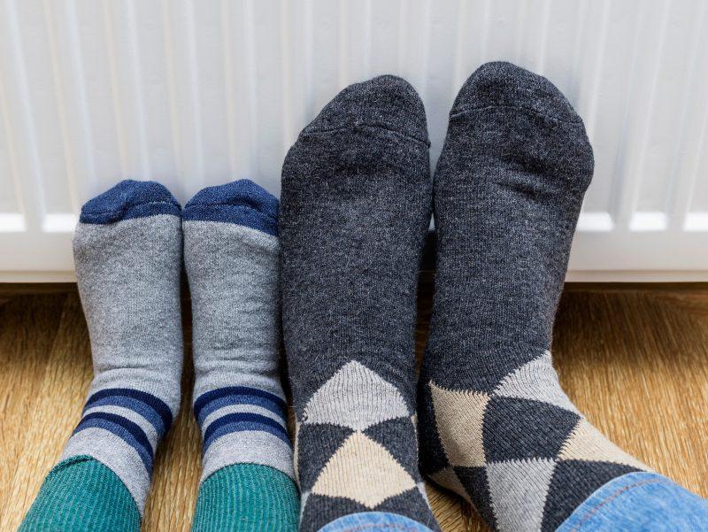 Gas Glattgas Socken Vater Kind Heizung